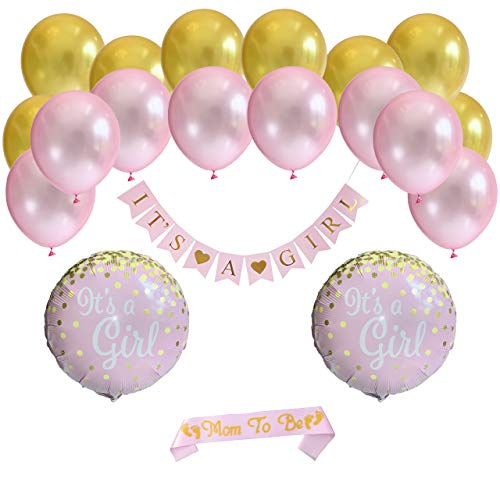 Baby Shower Decorations for Girl. It's A Girl - Pink - Gold Baby Shower Banner. Pink Mom to Be Sash with Gold Glitter (20 Pieces)