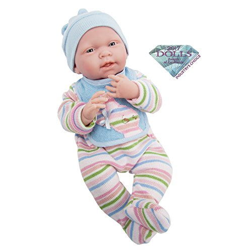 "JC Toys, La Newborn All Vinyl Anatomically Correct Real Boy 15"" Baby Doll in Striped Long Sleeved Pajama Outfit - for Children 2 Years & Older Designed by Berenguer Boutique - Made in Spain"