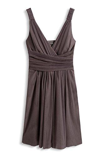 ESPRIT Collection 066EO1E021-Wrap Optic, Robe Femme, Braun (Taupe 240), 36