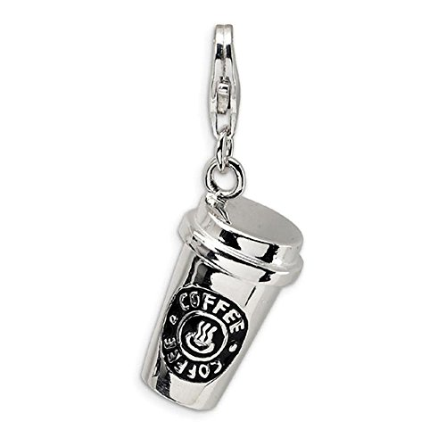 3D Coffee Cup Charm Lobster clasp Enamel Rhodium Plated for Bracelet or Key (Rhodium Plated Lobster Clasp)