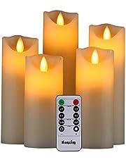HANZIM LED-ljus, flamlösa ljus 250 timmars dekorativa ljuspelare i set om 5. Realistiska flimrande LED-lågor 10 knappar fjärrkontroll med 24 timmars timerfunktion (elfenben)