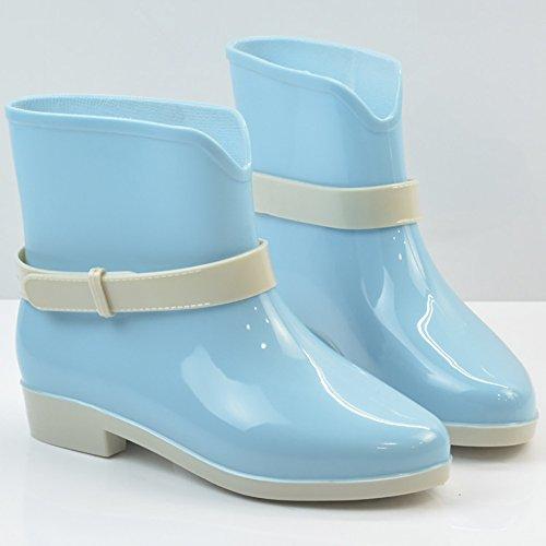 Qzunique Donna Impermeabile In Gomma Gelatina Antiscivolo Pioggia Boot Fibbia Alla Caviglia Scarpe Da Pioggia Alta Blu