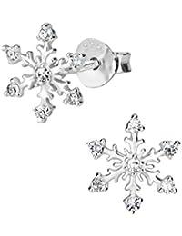 Hypoallergenic Sterling Silver CZ Snowflake Stud Earrings for Kids (Nickel Free)