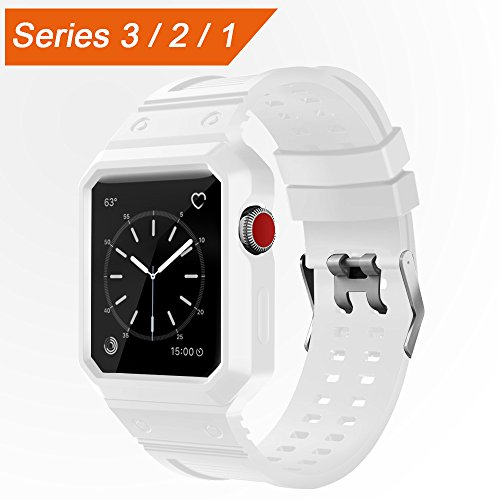 Price comparison product image CTYBB Apple Watch Band 42mm with Case, iWatch Bands with Shock-proof Protective Case for Apple Watch Series 3, Series 2, Series 1, Nike+, Sport, Edition -- White