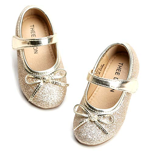 THEE BRON Girl's Toddler/Little Kid Ballet Mary Jane Flat Shoes (13M US Little Kid, Lg03 Gold)