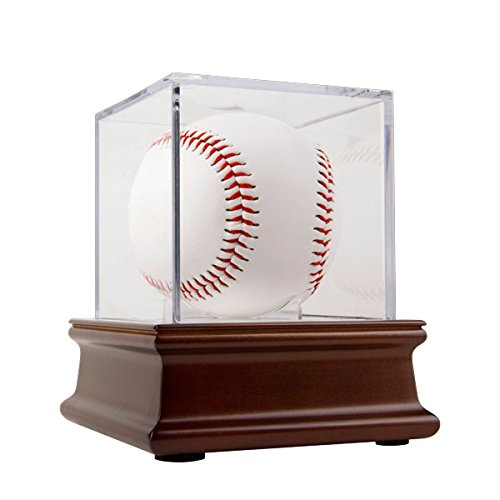 THE ORIGINAL BALLQUBE BallQube Grandstand Baseball Display on a Wood (Ballqube Baseball Holder)