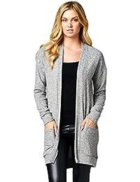 Women's Long Knit Open Cardigan With Side Pockets