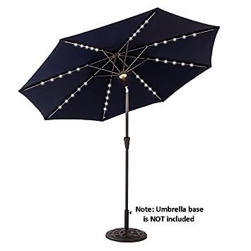 C-Hopetree 9 feet Round Solar-Power LED Outside Patio Umbrella Crank Winder 8 Ribs Push Button Tilting Navy Blue