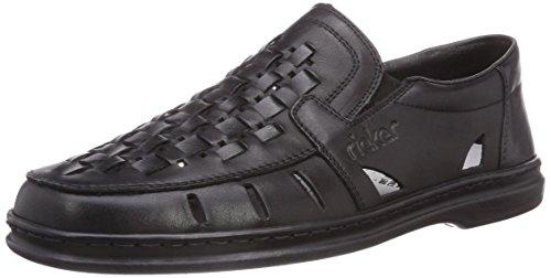 Rieker 12389 - Zapatillas de casa de cuero hombre negro - Schwarz (nero/schwarz / 00)