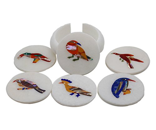 Reevaria Pietra dura Marble Tea Coaster - Handmade Birds Inlay coaster in Makarana White Marble – Handcrafted Design and Inlaid with pure natural Stones - Perfect Gift