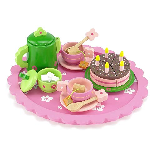 - 18 Inch Doll Wooden Tea Set (28 Pieces) for Little Girls | Cake Play Dessert Food Set | Fits American Girl Dolls