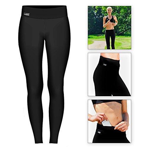 Formbelt® Damen Laufhose mit Tasche lang - leggins Yoga-Hose stretch-hose hüfttasche für Smartphone Iphone Handy Schlüssel (A-schwarz, M)