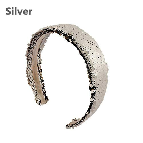 MOPOLIS Headwear Glittering Hair Bands Birthday Party Sequins Head Hoop Women Headband | Size - Silver
