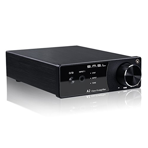 VMV SMSL A2 HiFi Audio Stereo Receiver Class D Digital Amplifier with Subwoofer 40Wx2 Black by VMV