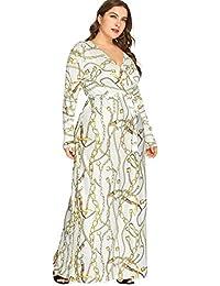 Milumia - Vestido de talla grande con estampado floral de verano, cuello en V, color negro
