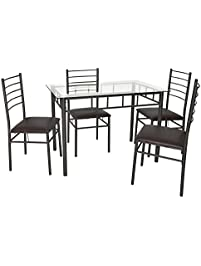 VECELO Dining Table With 4 Chairs Brown