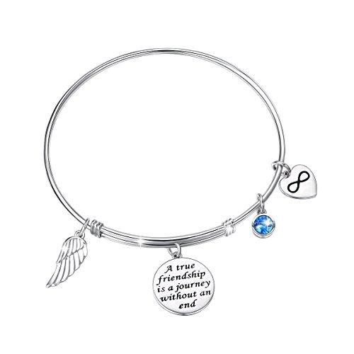 (JZMSJF Friendship Bracelet 925SterlingSilver Expandable Inspirational Motivational/Friendship Meaningful/Love/Memorial Thankful Beauty/Praise/Religious/Message Charm Bracelets)