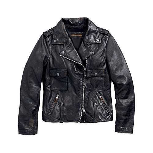 Harley-Davidson Official Women's Wild Distressed Leather Biker Jacket, Black (Small) (Harley Davidson Leather Collar)