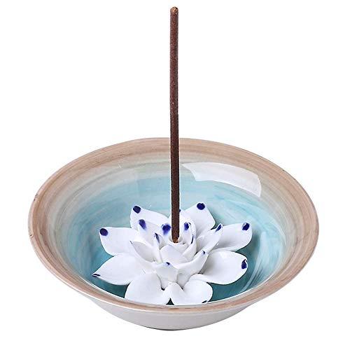 (Uniidea Incense Stick Holder, Ceramic Handicraft Incense Burner Bowl, Coil Lotus Ash Catcher Tray 4.62 Inch Light Blue)