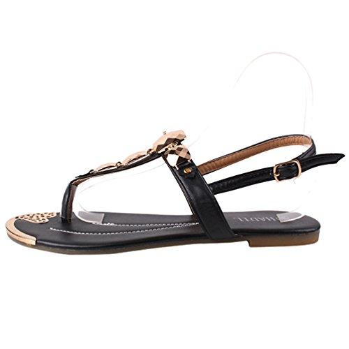 LvRao Muier Sandalias Verano Zapatos Peep-dedo del pie Zapatos Bajos Sandalias Perla Negro #1