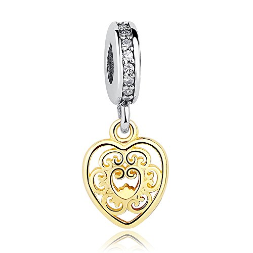 Everbling Golden Heart with Clear CZ Dangle 925 Sterling Silver Bead Fits European Charm Bracelet by Everbling