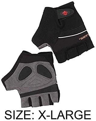Men's Size XXL Fingerless Gloves With Synthetic Gray Suede Palms, And Black Spandex Backs