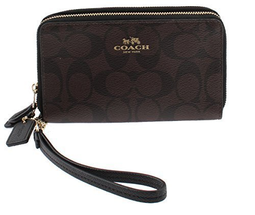 Coach Signature PVC Wristlet Double Zip Wallet Phone Case F53937 (Brown/Black)