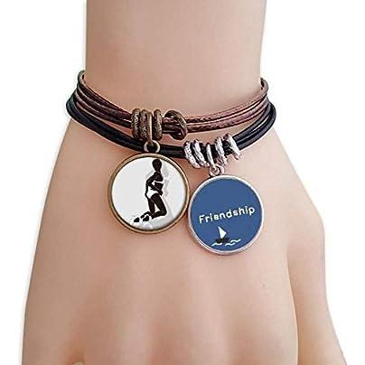 Hot Woman Bikini Silhouette Friendship Bracelet Leather Rope Wristband Couple Set Estimated Price -