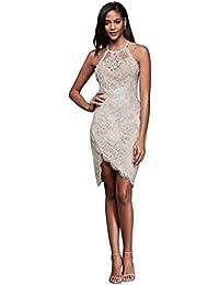 Lace Halter Mini Dress With Asymmetric Hem Style LELA88