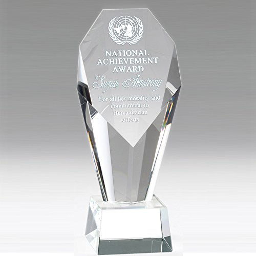 - Customizable 8-1/2 Inch Optical Crystal Faceted and Beveled Column Pillar Award with Personalization