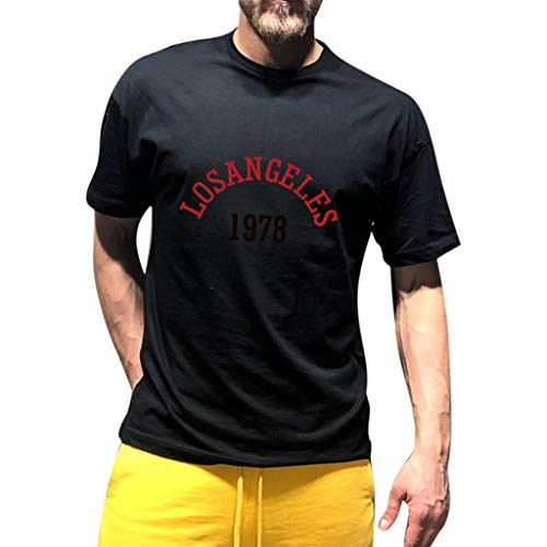 Mens Summer Casual Solid Color Letter Print Short Sleeve T-Shirt Top Blouse Black