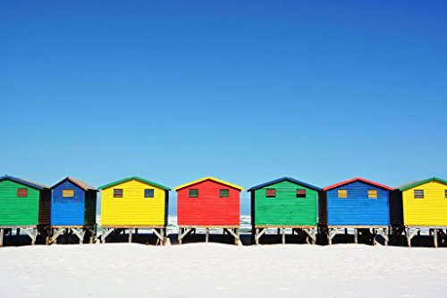 Colorful Beach Huts in Muizenberg Cape Town South Africa Photo Art Print Poster 36x24 - Africa Huts In