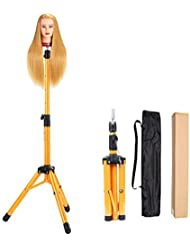 Heavy Duty Wig Stand Tripod - Alileader Canvas Block Head Tripod Metal Adjustable Tripod Stand Holder for Hairdressing Head Mannequin Manikin Head Tripod(Golden,Mannequin Head Not Included))