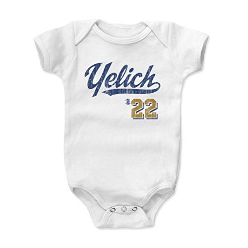 500 LEVEL Christian Yelich Baby Clothes, Onesie, Creeper, Bodysuit 3-6 Months White - Milwaukee Baseball Baby Clothes - Christian Yelich Script B (Baseball White Brewers Milwaukee)