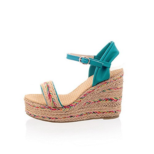 Blue Toe Buckle Blend Color Sandals AllhqFashion Materials Open Assorted High Womens Heels 1qaxP7g