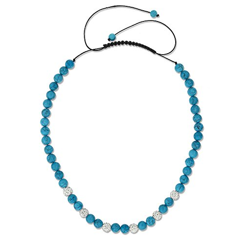 Gem Stone King Blue Simulated Turquoise Adjustable Necklace w- Iced Out 10MM White Color Beads
