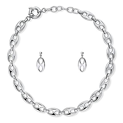 BERRICLE Rhodium Flashed Base Metal Fashion Statement Necklace and Earrings Set big discount