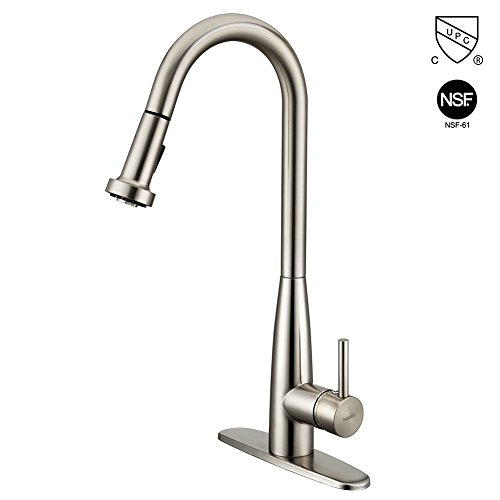 1 Handle Stainless Kitchen - Kitchen Faucet with Pull Down Sprayer, KOPAIS 1-Handle High Arch Brushed Nickel Kitchen Sink Faucets with Sprayer, Single lever Deck Mounted Stainless Steel Pull Out Kitchen Faucet, cUPC Certification