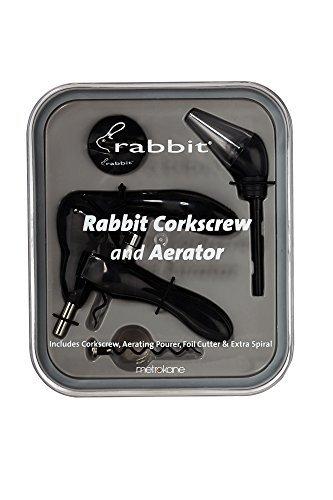 Metrokane Rabbit Corkscrew with Houdini Aerating Pourer and Bonus Replacement Worm by Rabbit