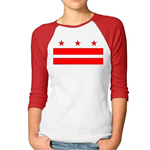 - Flag of Washington DC The US Flag Womens Ladies Plain Raglan Printed Tee Shirt