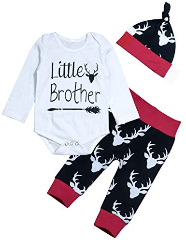 Toddler Infant Baby Boys Deer Headband Sweatsuit Pants Long Sleeve Romper Outfit Set 3-6 Months White