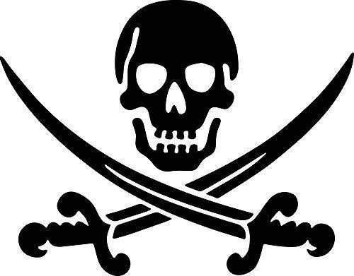 ANGDEST Pirate Skull Swords Crossed Comic (Black) (Set of 2) Premium Waterproof Vinyl Decal Stickers for Laptop Phone Accessory Helmet Car Window Bumper Mug Tuber Cup Door Wall Decoration