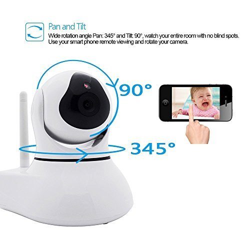 [Security WIFI IP Camera] J-DEAL Indoor Wireless Day Night Baby Monitor / Surveillance WIFI Network CCTV IR Security Camera (iOS & Android Mobile View, Motion Detection, pan 345° tilt 90°) White [並行輸入品] B01KDNZHVK