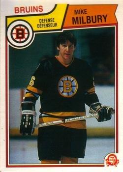 1983 O-Pee-Chee Regular (Hockey) card#55 Mike Milbury of the Boston Bruins Grade Near Mint