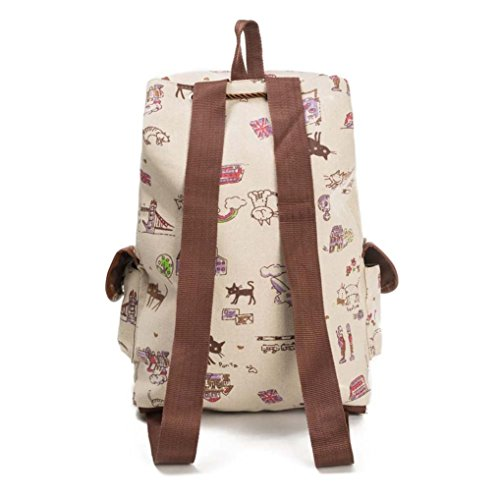 Cat Travel Backpack WYXlink Canvas Bag C Women Animal Bag Shopping Drawstring Print Style Fashion Backpack PBSgqX