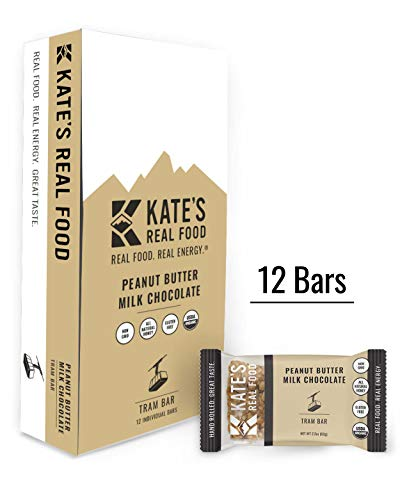 Kate's Real Food Granola Bars 12 Pack | Tram Bar Peanut Butter Milk Chocolate | Clean Energy, Organic Ingredients, Gluten Free, Non GMO | All Natural Delicious Health Snack