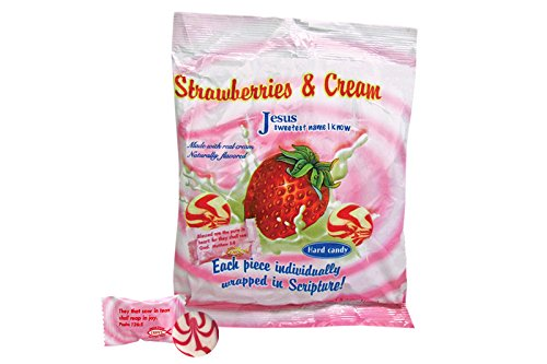 Candies Cream - Scripture Candy 542970 Candy Scripture Strawberries & Cream 5.5Oz Bags