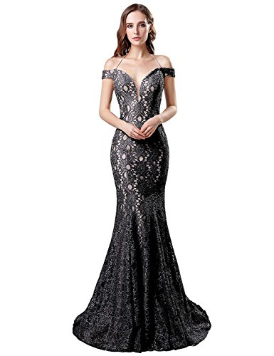 Belle House Black Lace Formal Dresses Prom Dresses 2018 Long Sexy Off The Shoulder Evening Dress Ball Gowns Mermaid Style