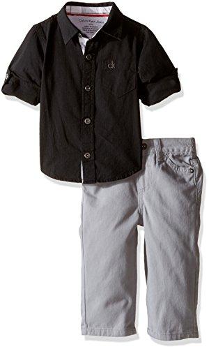 Calvin Klein Baby Shirt and Twill Pants Set, Black, 3-6 Months