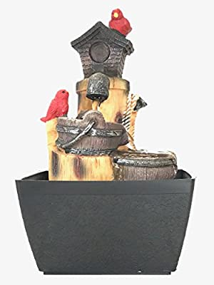 """Easy 2 Buy Distributors LLC Tabletop Water Fountain 7.9"""" Birds (with Color LED)"""